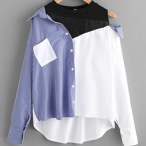 Tops - Off the Shoulder Striped Button Up w/Attached Tank